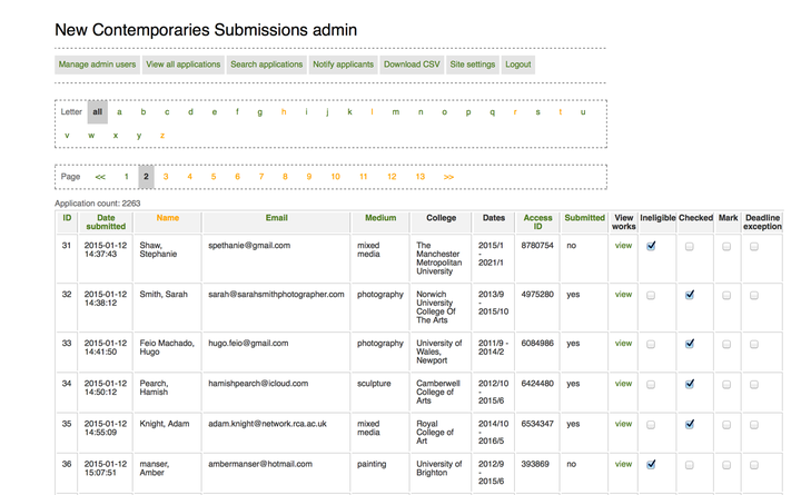 2010 New Contemporaries submissions site admin
