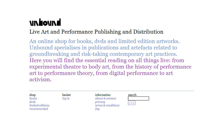 Home page for Unbound Live Art Development Agency's ecommerce site built by Platform3