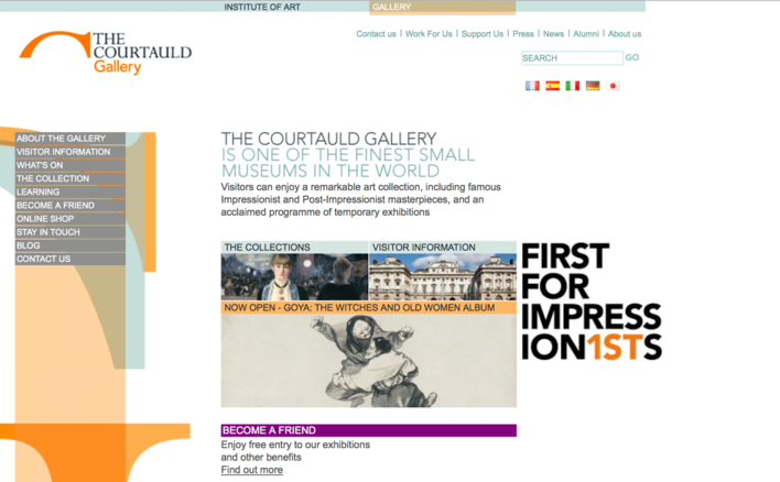 Courtauld Institute of Art Gallery landing page built by Platform3 in 2007