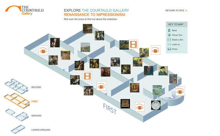 First floor of the Courtauld Gallery's interactive map built by Platform3 in 2010