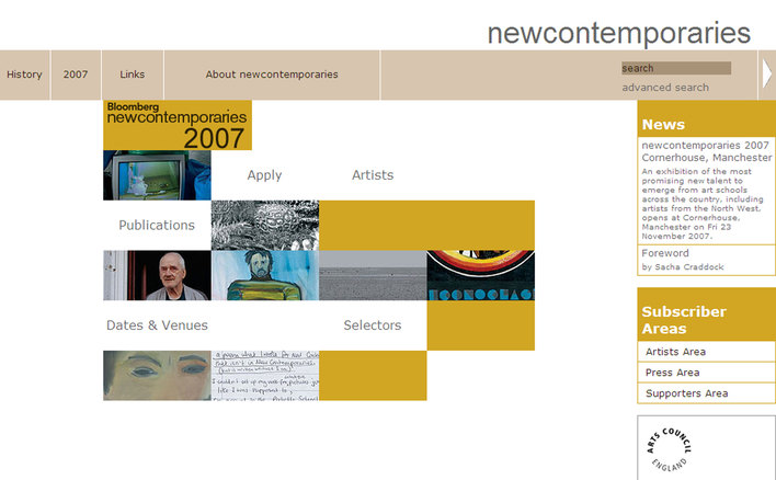 2007 New Contemporaries home page