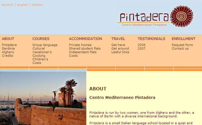 Pintadera website home page built by Platform3 in 2004