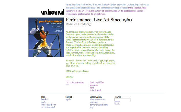 A book page for Unbound Live Art Development Agency's ecommerce site built by Platform3