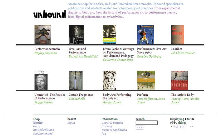 List page for Unbound Live Art Development Agency's ecommerce site built by Platform3